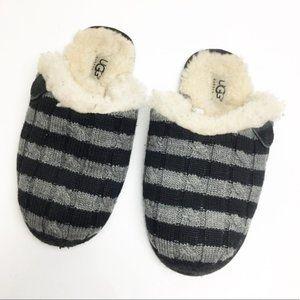 UGG Scuffette Sheepskin Gray/Black Stripe Slippers